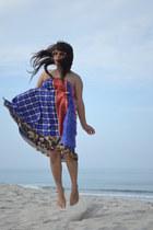 blue Kariza dress - neutral borrowed sunglasses - camel Aldo belt - silver Clair