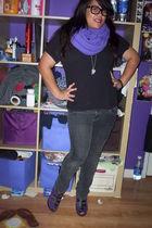 purple American Apparel scarf - black Puritan shirt - black Bullhead pants - pur