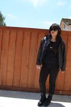 black Dollhouse boots - black PacSun jeans - black hawke&co jacket - black thrif