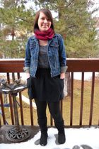 blue Levis jacket - gray top - black Forever 21 skirt - black Walmart tights - b