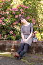 Black-durango-boots-brown-madewell-dress-gray-pendleton-bag