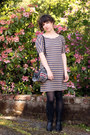 Black-durango-boots-brown-madewell-dress-gray-pendleton-bag