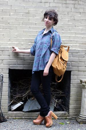 black Goodwill jeans - light purple Goodwill shirt - tawny baggu bag - tawny Jef