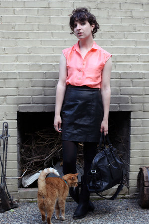 black Durango boots - black Marshalls bag - black Goodwill skirt - coral J Crew