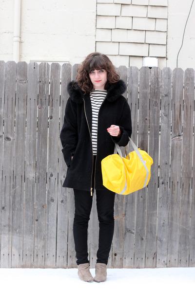 yellow American Apparel bag - tan sam edelman boots - black Ellen Tracy coat