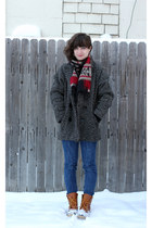 LL Bean boots - vintage coat - thrifted jeans - scarf