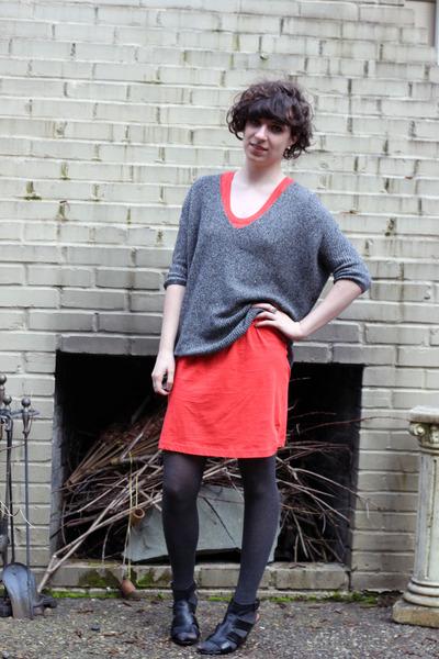 red Gap dress - gray Express sweater - gray Target tights - black franco sarto w