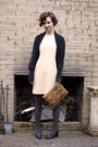 Beige-goodwill-dress-black-target-sweater-dark-gray-target-tights-brown-go