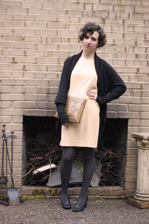 beige Goodwill dress - black Target sweater - dark gray Target tights - brown Go