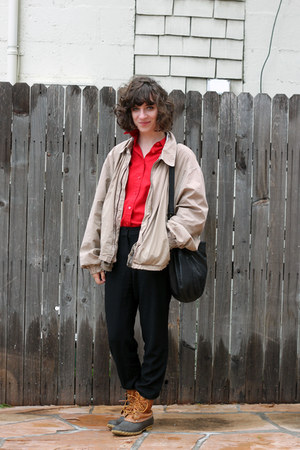 camel thrifted jacket - tawny LL Bean boots - red J Crew shirt