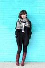 Black-vintage-jacket-white-stylemint-shirt-dark-gray-pendleton-scarf