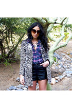 leopard H&M coat - plaid H&M shirt - leather H&M shorts - jeweled H&M necklace