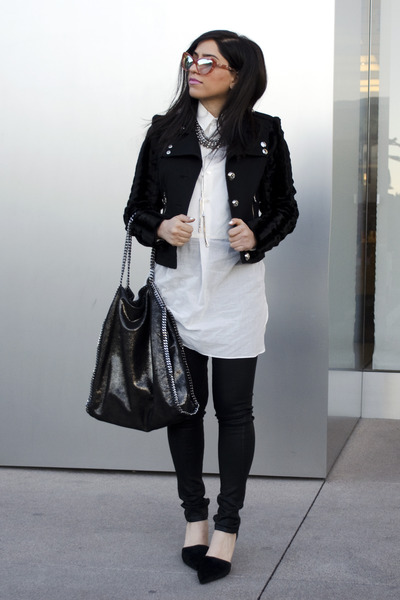 black fur vince pumps - black coated citizens of humanity jeans