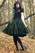 slytherin handmade scarf - lolita handmade skirt - leather vagabond heels