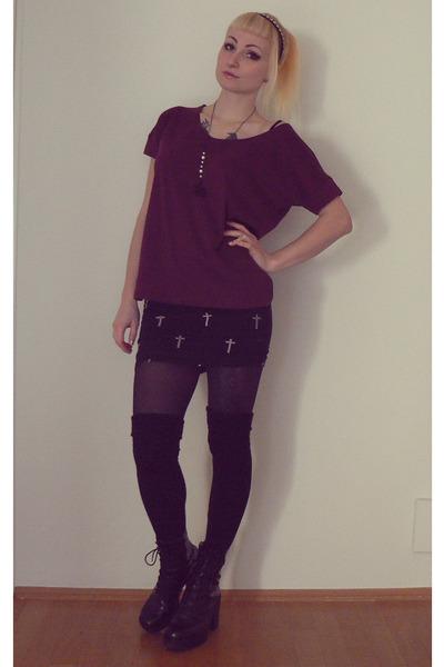 maroon New Yorker top - black Bershka skirt - black vagabond heels