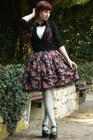 black lolita handmade skirt - aquamarine H&amp;M shirt - aquamarine lindex tights
