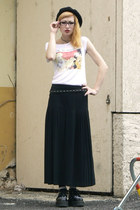 black creepers Demonia shoes - white tesco shirt - black vintage skirt