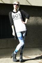 sky blue H&M leggings - black crochet collar self-made accessories