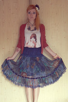 navy flower skirt vintage skirt - white jennyfer shirt