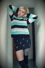 Aquamarine-crochet-diy-sweater-black-cross-bershka-skirt