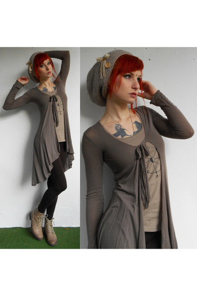 tan knitted DIY hat - light brown thrifted cardigan - camel DIY top