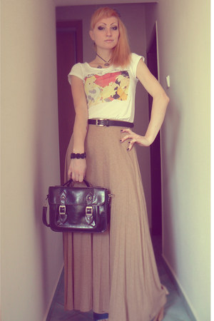 camel Bershka skirt - white tesco shirt - black New Yorker bag