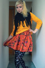 Orange-halloween-diy-skirt-black-demonia-shoes-mustard-new-yorker-sweatshirt