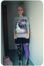 black New Yorker skirt - heather gray Bershka jumper - black Converse sneakers