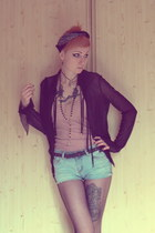 black black thing vintage blouse - light blue DIY shorts