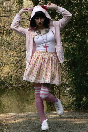 light yellow handmade skirt - light pink gloomy bear Ebay jacket