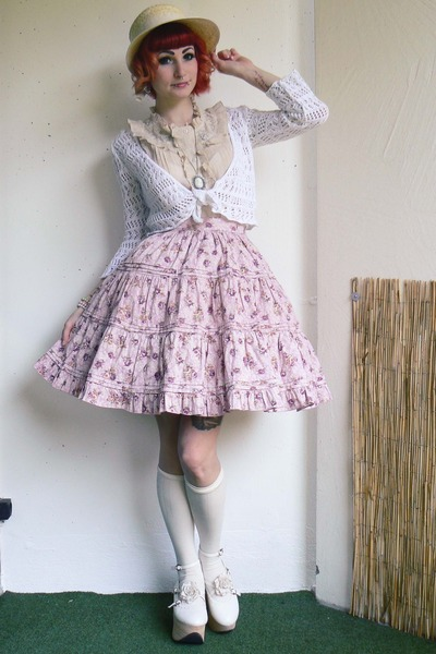 off white Bodyline shoes - beige c&a hat - pink Bodyline skirt