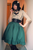 forest green lolita skirt Handmade by Maxë skirt - black Terranova belt