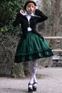 White-lindex-tights-dark-green-lolita-handmade-skirt-white-anna-house-blouse