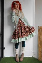 crimson DIY dress - tan crochet DIY scarf - aquamarine H&M cardigan