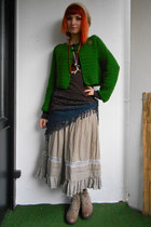 green crochet DIY cardigan