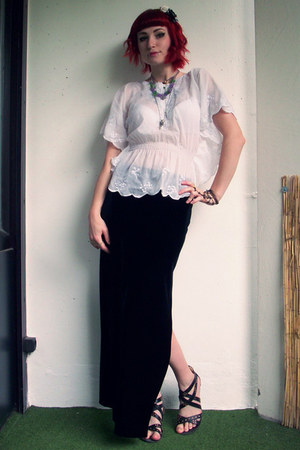 white second hand blouse - black second hand skirt - green DIY necklace