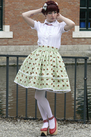 aquamarine lolita handmade skirt - white Anna House blouse