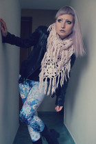 light pink second-hand scarf - black biker jacket Pimkie jacket