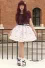 White-handmade-skirt-maroon-new-yorker-top-ivory-h-m-accessories