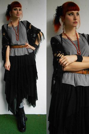 black DIY skirt - charcoal gray WolfTea earrings
