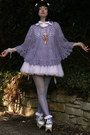 White-handmade-skirt-sky-blue-tights-light-purple-poncho-vintage-top