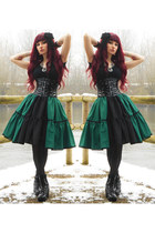 dark green lolita handmade RABBIT HEART shop skirt - black vagabond shoes