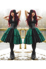 Black-vagabond-shoes-dark-green-lolita-handmade-rabbit-heart-shop-skirt