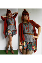 brown Mustang shoes - charcoal gray c&a dress - brick red jennyfer cardigan