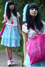 Off-white-bodyline-shoes-hot-pink-hand-painted-rabbit-heart-shop-bag