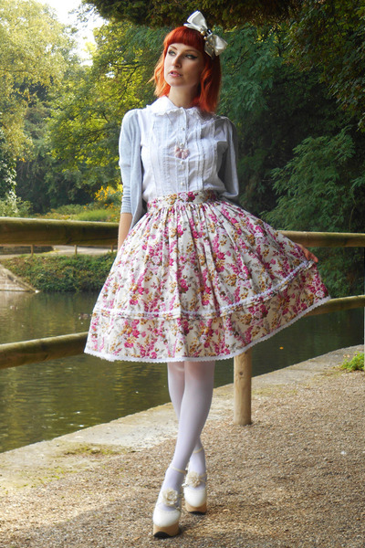 cream lolita RABBIT HEART shop skirt - off white Bodyline shoes