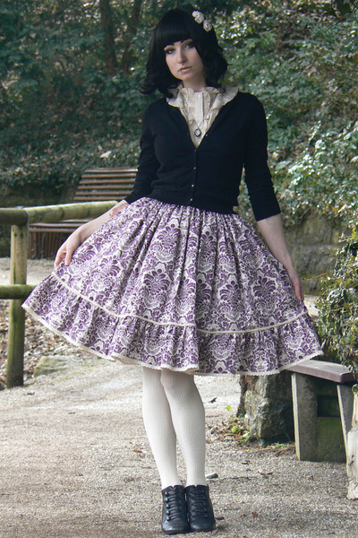 violet handmade skirt - black H&M cardigan - off white H&M accessories