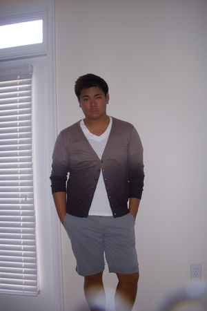 brown Zara Man sweater - silver f21 shorts