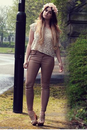 off white crochet vintage top - light pink All Saints jeans