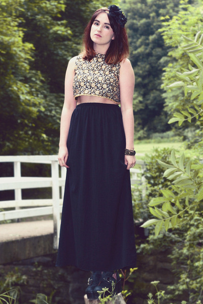 gold vintage top - black maxi skirt Zara skirt